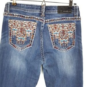 Grace in LA Boho Easy Fit Embroidered Jeans 29